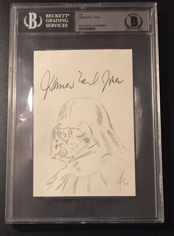 James Earl Jones Signed Cut Signature Sketch Art Work Darth Vader BAS 10928026