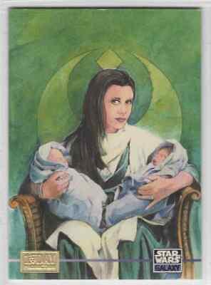 1995 Series 3 Princess Leia With Twin Babies 1st Day Production Card - Princess Leia Baby