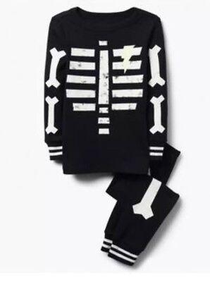 Gymboree Halloween 2018 Boys Black Skeleton Glow in the Dark Pjs Nwt Size - Glow In The Dark Skeleton Pajamas Boys