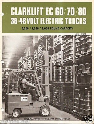 Fork Lift Truck Brochure - Clark - Ec 60 70 80 3648v Electric - 1970 Lt109