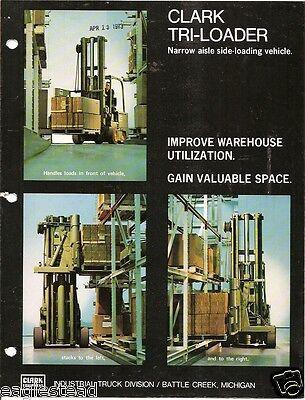 Fork Lift Truck Brochure - Clark - Tri-loader - 2 Items - C1973 Lt185