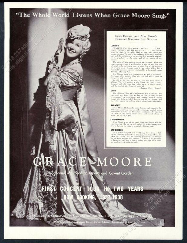 1937 Grace Moore photo singing recital tour booking trade print ad