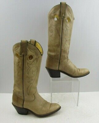 Ladies ACME Cream Leather Western Cowgirl Boots Size : 5.5 M