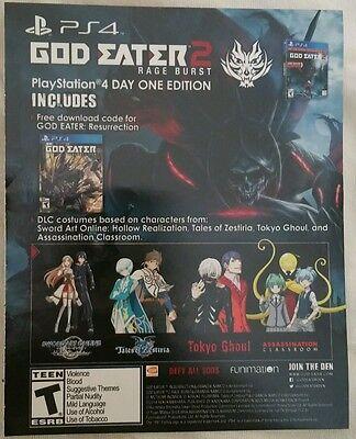 PS4 God Eater Resurrection Full Game Download Voucher Card Only rare + more