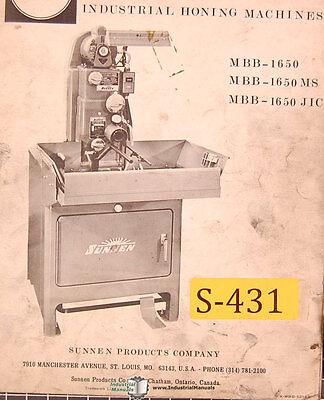 Sunnen Mbb-1650 Ms And Jic Honing Machine Repair Parts Manual