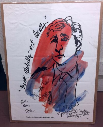 Hippie 1982 Political Poster Signed by Tom Hayden and Jane Fonda 22x30 Inches