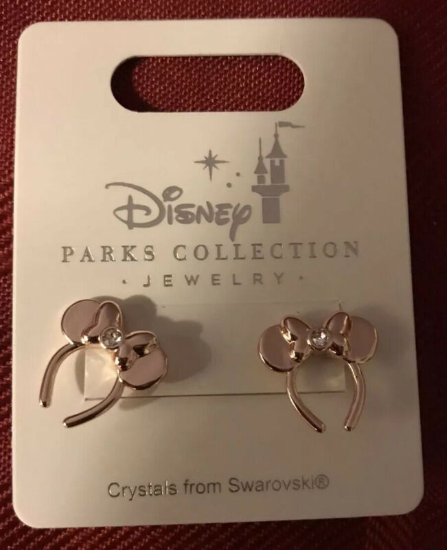 Disney Parks Minnie Mouse Ears Headband Earrings Rose Gold W/Swarovski Crystals