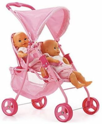 Hauck Double Twin Tandem Doll Stroller Folding Pink Two Seater 2 Baby Child Size ()