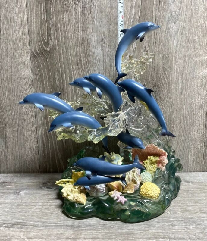 """LENOX Blue Dolphins Statue 2002 16"""" Limited edition Figure"""