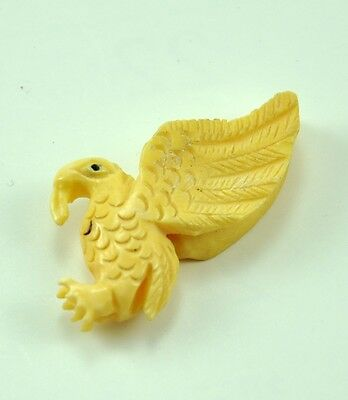 2 x Vintage Oriental Bone Carved Bead Hand Carved Charm Pendent Eagle Bird