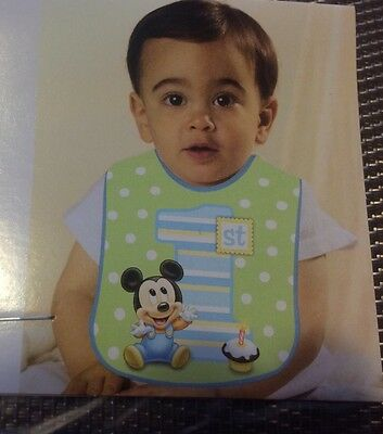 Mickey Mouse 1st Birthday Bib (Disney Mickey Mouse 1st Birthday Bib Party Supplies)