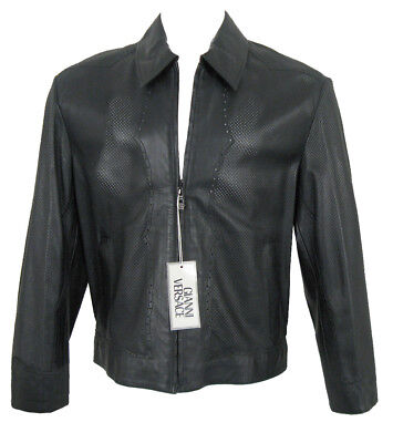 NEW $5119 Vintage Pre Death Gianni Versace Perforated Leather Jacket! e 50 US 40