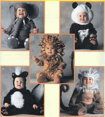 Lion Elephant Panda Skunk Monkey HALLOWEEN COSTUMES SEWING PATTERN Toddlers 1