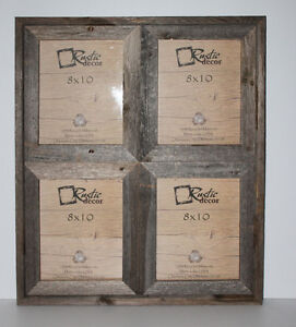 8x10 25 wide reclaimed rustic barn wood collage photo frame holds 4 photos