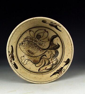Antique Cizhou Ware Black&Red Color Porcelain Bowl Fish Deco Black Fish Bowl Pot