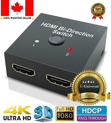 2 IN 1 OUT HDMI Switch Bi-Directional HDMI Splitter for PS4/3 TV Box HDTV HD 3D