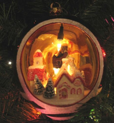"""Large 7"""" Lighted Christmas Ball With Village Scene Diorama"""
