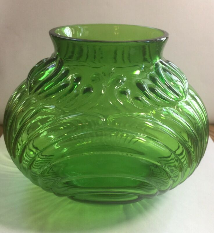 Cambridge Caprice Dark Emerald Green Squatty Vase