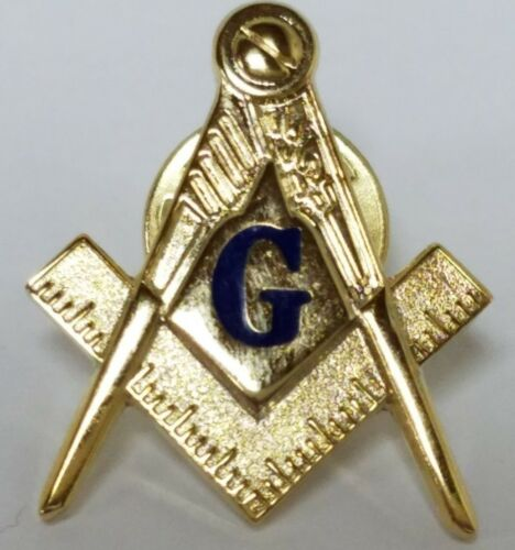 Blue G Mason Square & Compasses Masonic Freemason Lapel Pin 1""