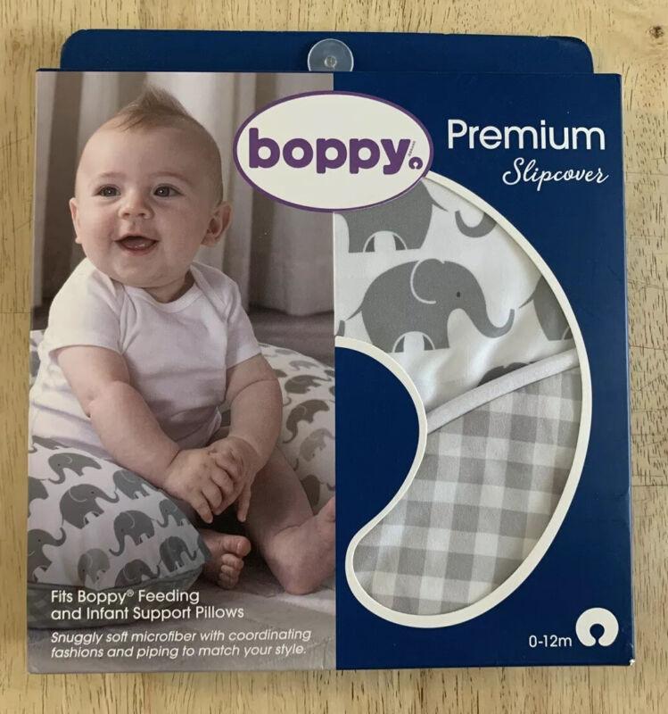 Boppy Premium Pillow Cover Gray Elephants Plaid Ultra soft Microfiber Fabric NIB