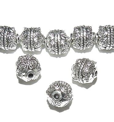 MB7101 Antiqued Silver 10mm Round Drum with Cirlce Rope Design Metal Beads 10pc