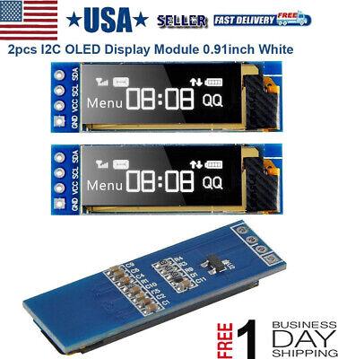 2pcs I2c Oled Display Display Screen Driver Module 0.91 Dc 3.3v5v For Arduino