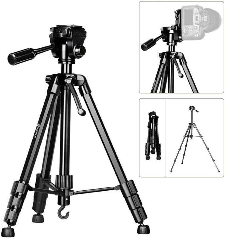 US Moman Camera Aluminum Alloy Tripod with Panorama Ball Head 60-inch for DSLR