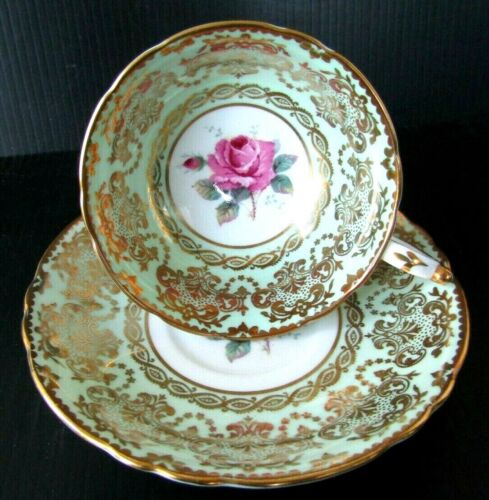 Paragon Teacup & Saucer Rose Center Green Gold Gilt Double Warrant England