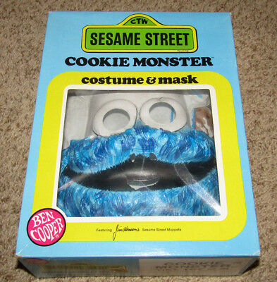 VINTAGE 1979 SESAME STREET COOKIE MONSTER COSTUME & MASK BEN COOPER BOX