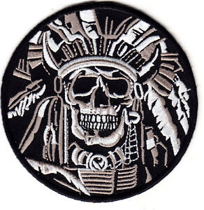 DEATH SKULL WARRIOR INDIAN CHIEF-IRON ON PATCH - ARMY-MORALE-NATIVE AMERICAN