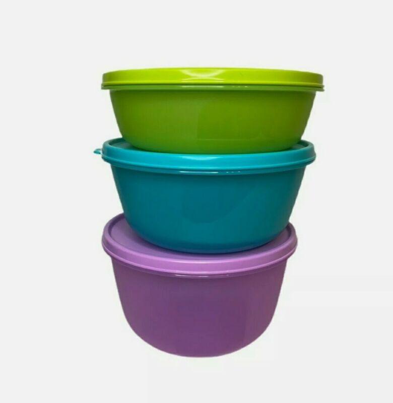 New TUPPERWARE Modular Bowls Medium 3PC SET Green BLUE Purple FREE US SHIPPING