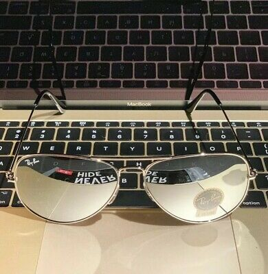 bf357db19e031 NEW Ray Ban 3026 Aviator Pilot Sunglasses MIRROR Lenses SILVER Frame Large  62mm.