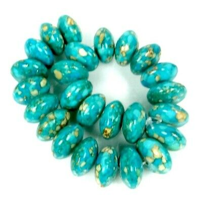 14x7mm Blue Mosaic Turquoise Abacus Rondelle Beads Beads (25)
