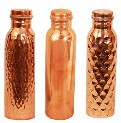 Hammered  Plain  Diamond Cut Copper Water Bottles 950 ml Each Jointless FastShip (Plain Water Bottles)