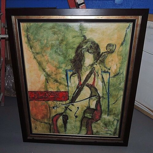 Rare Joarez Filho     Oil on Canvas Painting of a Exotic Flower Girl - Signed