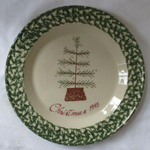 GERALD HENN WORKSHOPS CHRISTMAS 1995 POTTERY GREEN SPONGEWARE  PLATE - NEW
