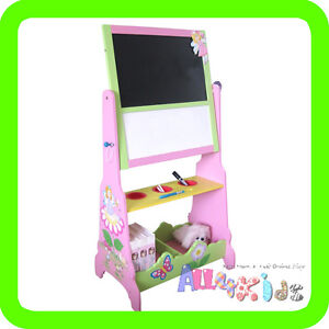 HAND PAINTED WOODEN KIDS FAIRY THEME BLACKBOARD WHITEBOARD CHALKBOARD ART EASEL