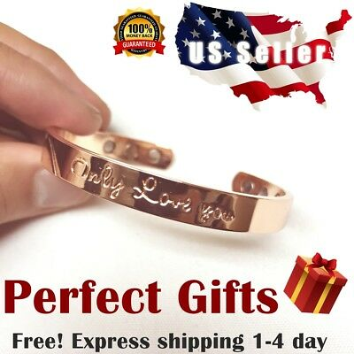 Pure Copper Magnetic Bracelet Arthritis Therapy Energy Men Women Cuff Sale New