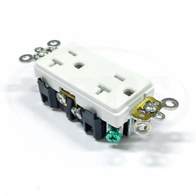 16362-W Leviton Receptacle, 20A-125V, White, Decora Plus Duplex, Self-Gnd