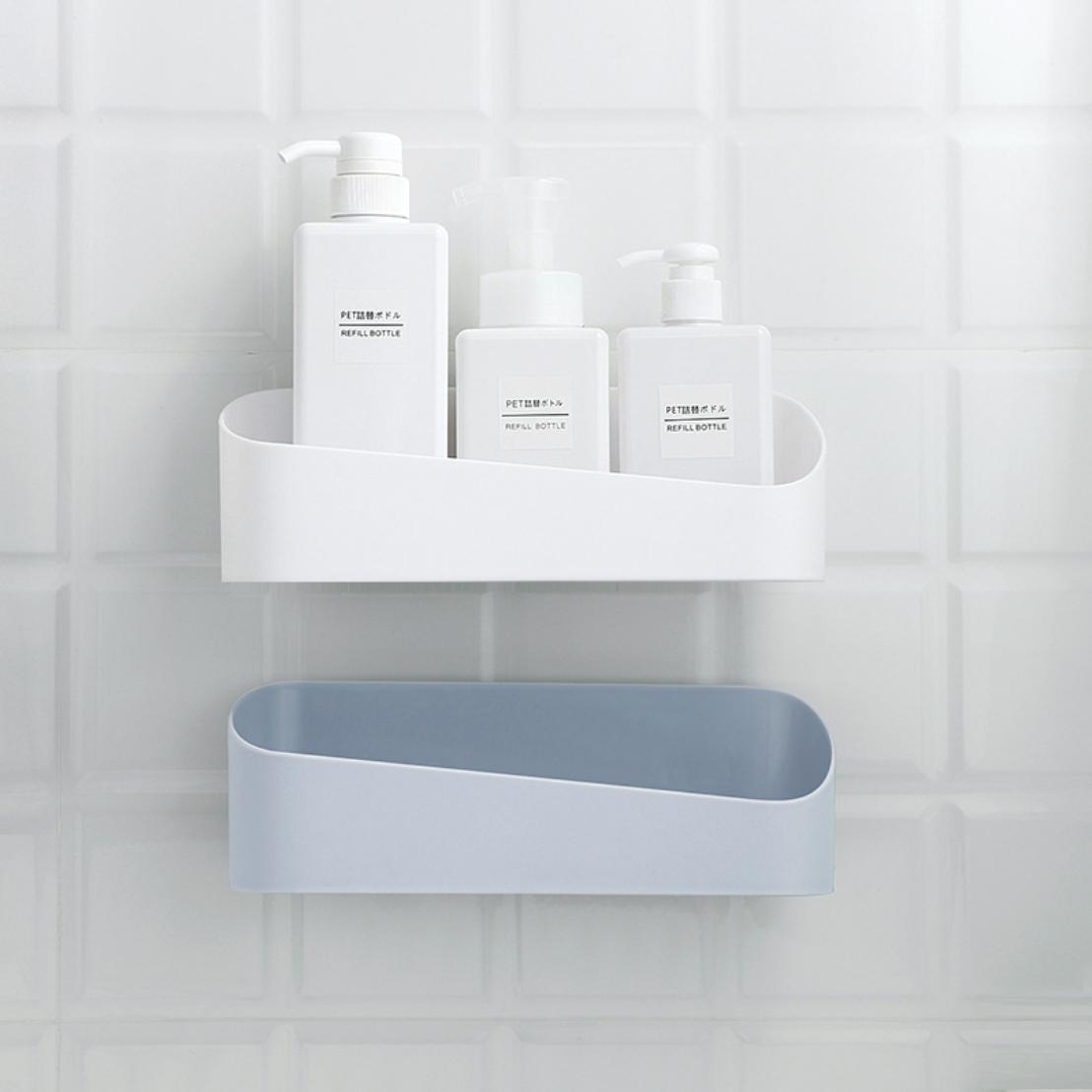 Home Bathroom Corner Wall Storage Organizer Shower Shelf Basket Sucker Rack HOT