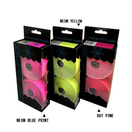 3mm Supacaz Super Sticky Kush Bike Handlebar Bar Tape Yellow//Pink//Neon Blue