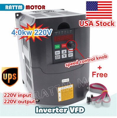 Us 4kw 5hp 400hz Vfd Inverter Variable Frequency Drive Converter 220v To 3-phase