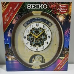 Seiko Musical Motion Wall Clock 30 Songs Swarovski Crystals Rotating Pendulum