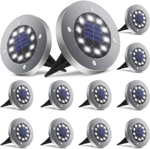 16 Pack Solar Ground Lights 8 LED Outdoor Solar Disk Lights In-Ground Landscape