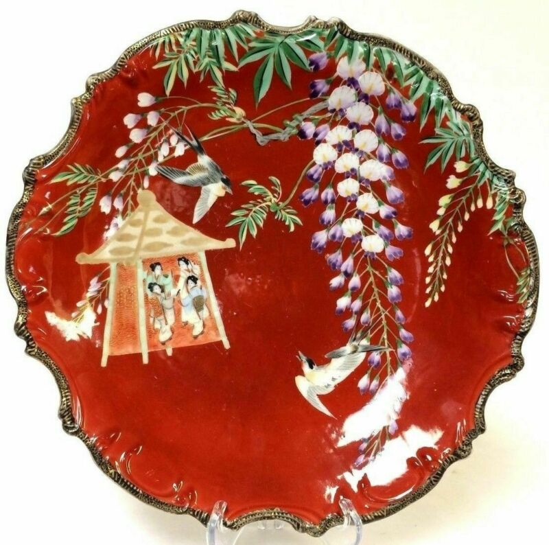 """Singed 19th Century Japanese Porcelain Charger 13"""" Flower Bird Character decorat"""