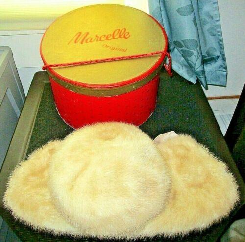 Elegant Marcelle Originals Blonde/Beige Genuine Fur Hat & Matching Collar Set