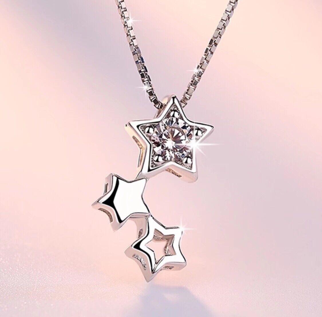 Jewellery -  925 Sterling Silver Multi Star Linked Pendant Chain Necklace Women's  Jewellery