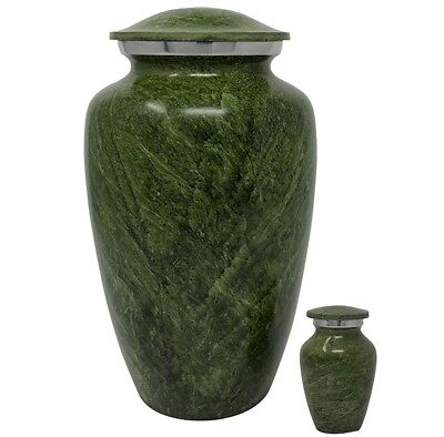 Green Marble Cremation Urn-Handcrafted Adult Funeral Urn for Ashes+Free (Marble Funeral Urn)