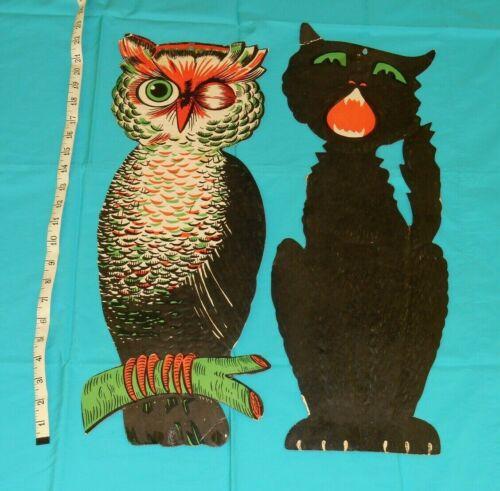 vintage Halloween LARGE WINKING OWL + SINGING BLACK CAT DECORATIONS LOT