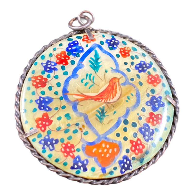 Vintage Hand Painted Mother Of Pearl Floral Cardinal Bird Motif Pendant